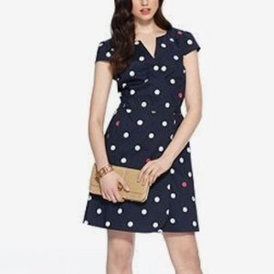 Tommy Hilfiger Navy Dotted Wrap Dress
